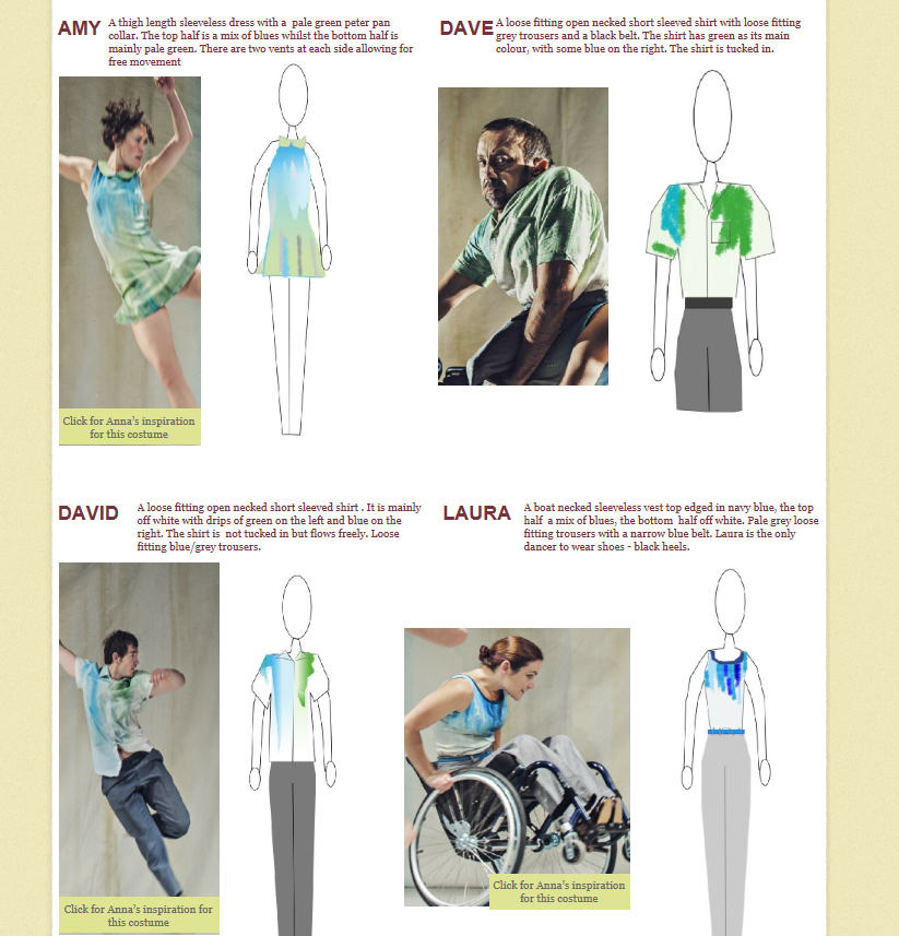 An image grid with four costume sketches for Artificial Things. In the upper left is a photo of Amy in costume, a thigh length sleeveless dress in blues and greens with a pale green Peter Pan collar, next to the costume sketch. In the upper right is a photo of Dave Toole in costume, a loose-fitting, open-neck, short-sleeved shirt in green and blue, with loose-fitting grey trousers and a black belt, next to the costume sketch. In the lower left is a photo of David in costume, a loose-fitting, open-neck, short-sleeved shirt in off white with greens and blues and loose-fitting blue/grey trousers, next to the costume sketch. In the lower right is a photo of Laura sitting in her wheelchair in costume, a boat necked sleeveless vest top in blues and off white, loose-fitting pale grey trousers with a narrow blue belt and black heels, next to the costume sketch.