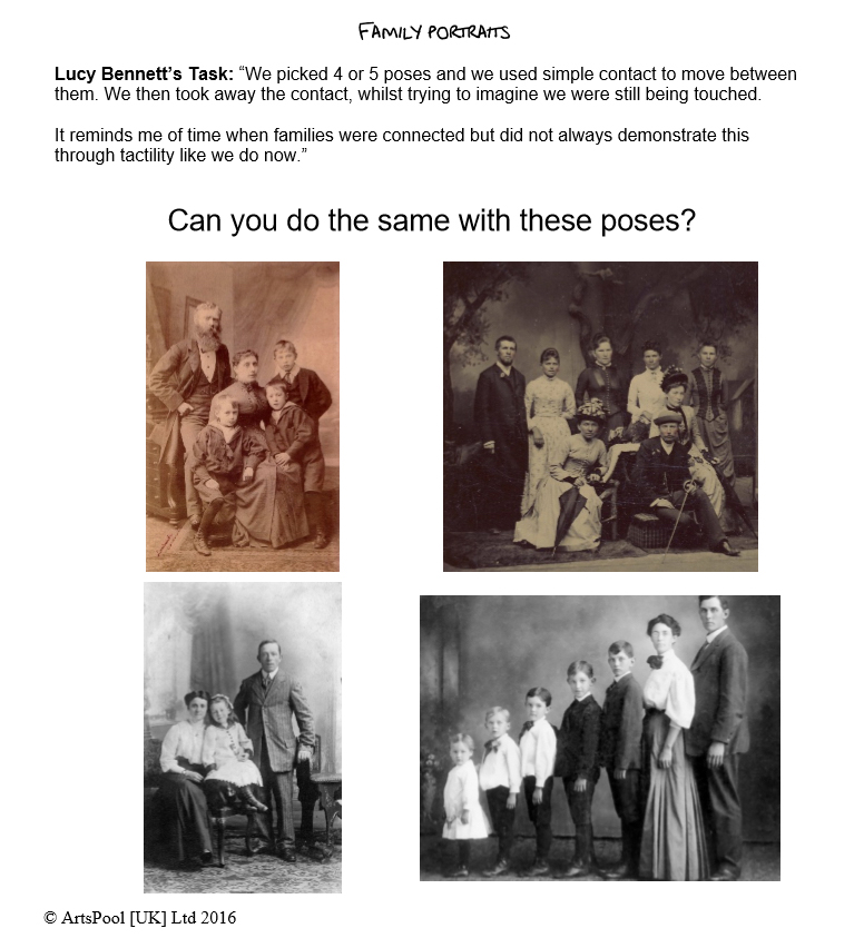 Example of task cards for the GCSE resource of Artificial Things. Image grid with four black and white, old fashioned family portraits.