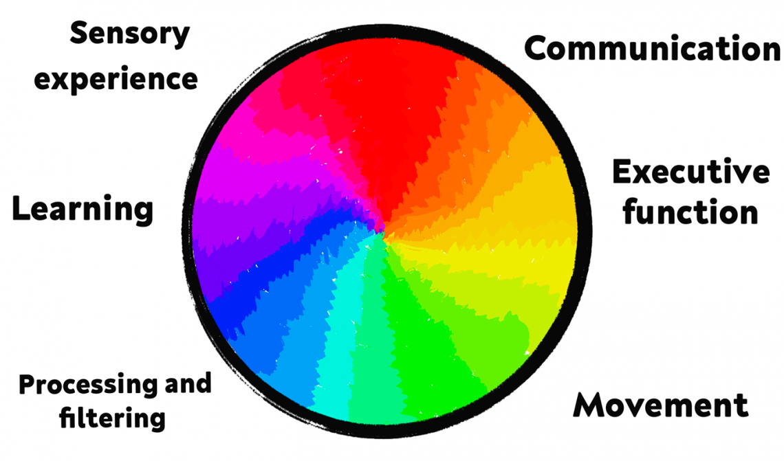 ID: A graphic of a rainbow spectrum within a circle, labelled around the edge in black text is: Communication, executive function, movement, processing and filtering, learning and sensory experience.