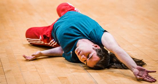 Fin dancing on the floor.