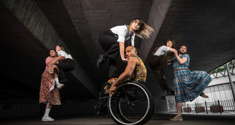 Three pairs of dancers caught in the peak moment of jumps and lifts together.