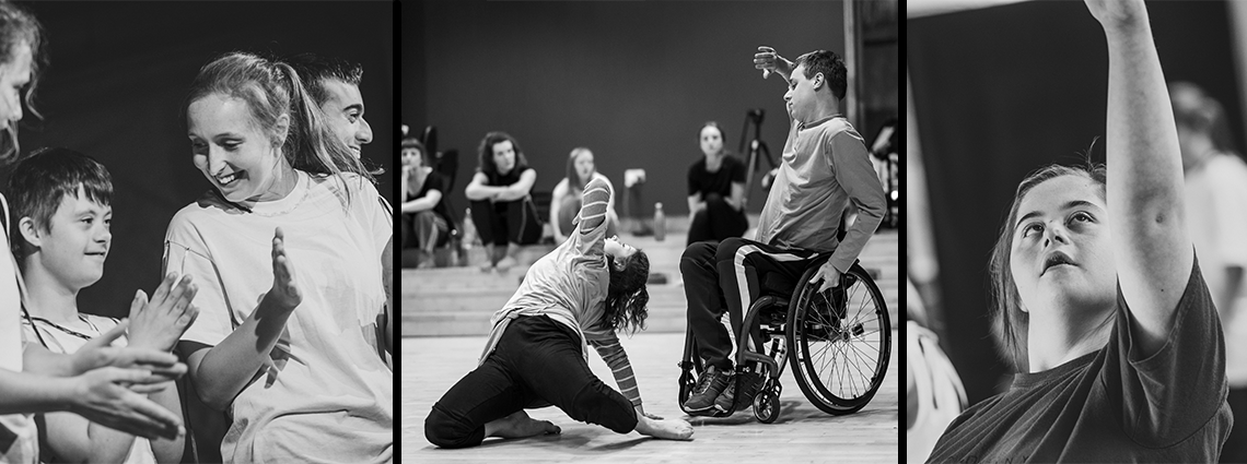 Black and white photos of young dancers and Sg2 apprentices during class and performance.
