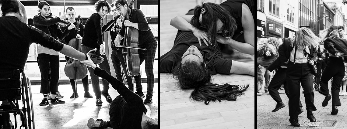 Black and white shots of rehearsals and performance.