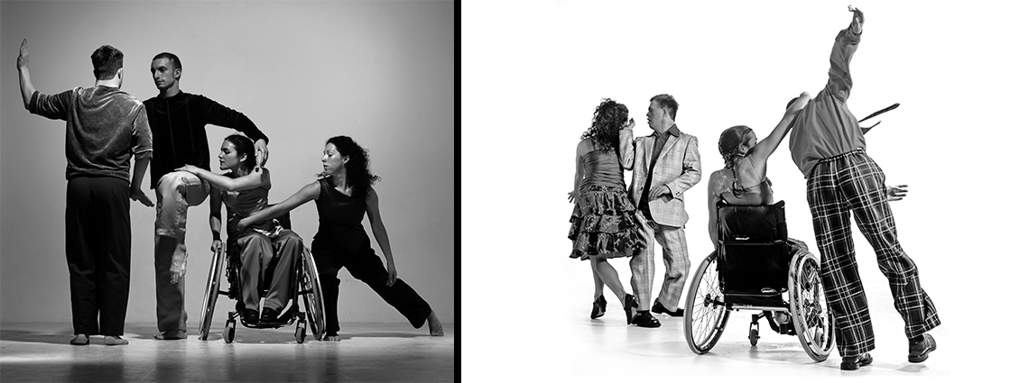 Black and white production photos of Stopgap dancers.