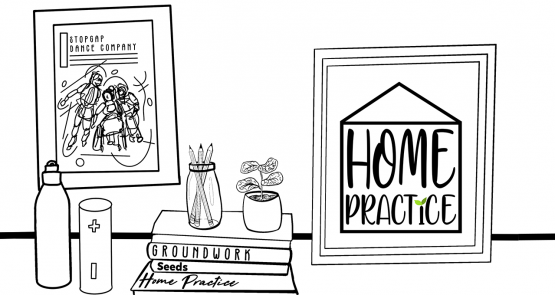 A black-and-white graphic drawing of a workspace.
