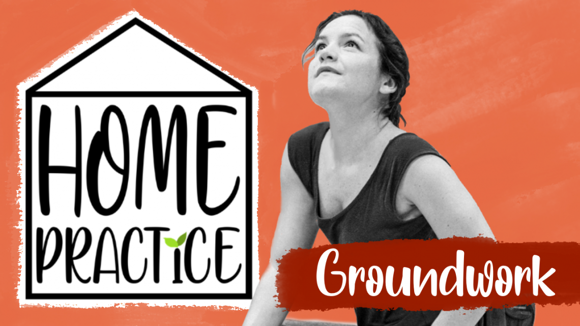 A red graphic with a black and white photo of Laura Jones, alongside the Home Practice logo and the title 'Groundwork'.