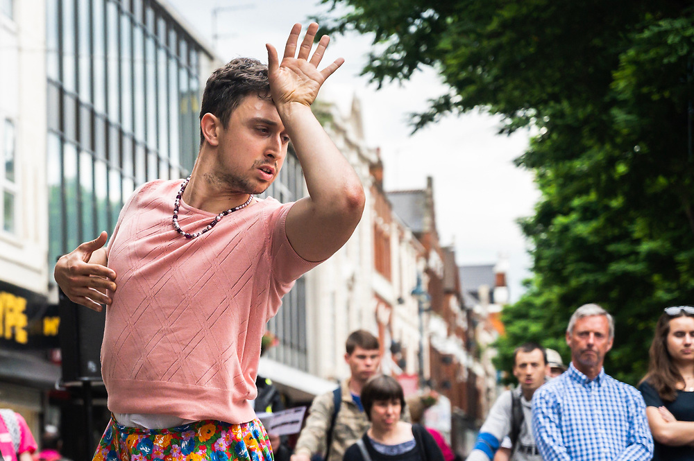Dancer Christian Brinklow during a performance of outdoor work Frock.