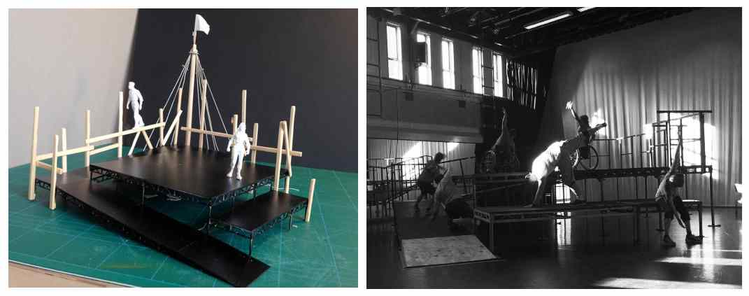 The Seafarers set design. Model box on the lft, rehearsal set in the studio on the right.