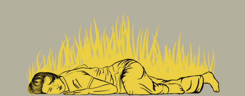 Black line drawing of a dancer lying on the floor flat on their front, facing outwards, with the left arm and leg bent. Yellow grass is sprouting upwards from the ground, filling and reaching above the dancer's body.