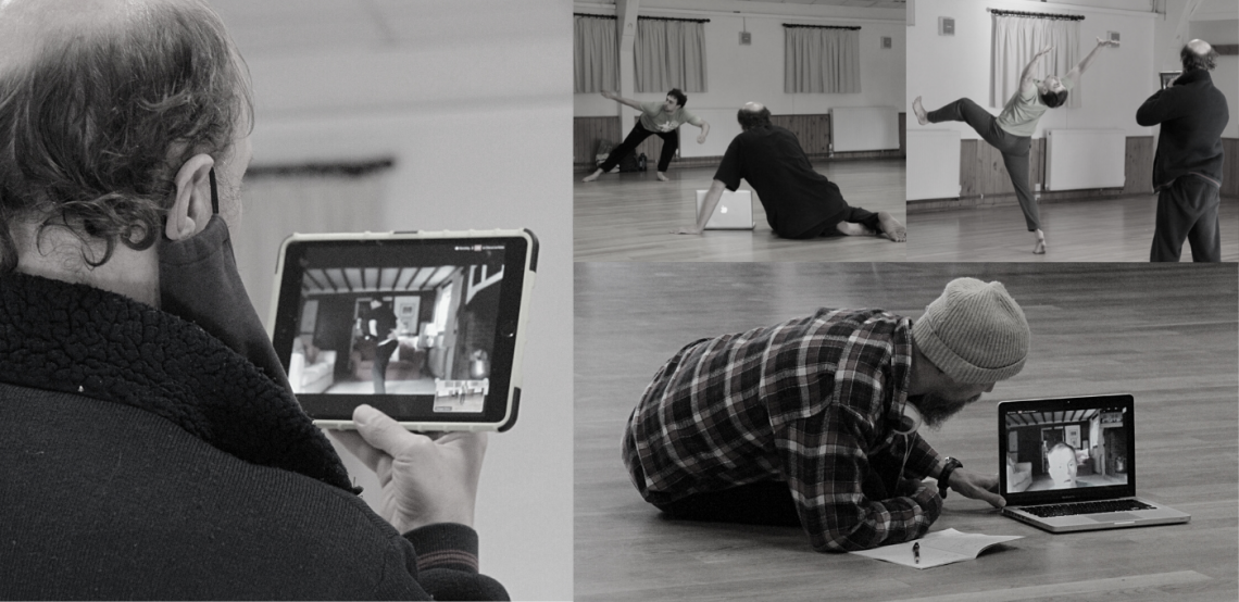 A collage of black and white photos from the studio. In each, Tom a white standing dancer, holds up an iPad or looks into a laptop, where Chris online on Zoom choreographs and observes the studio and dancers from his living room at home.
