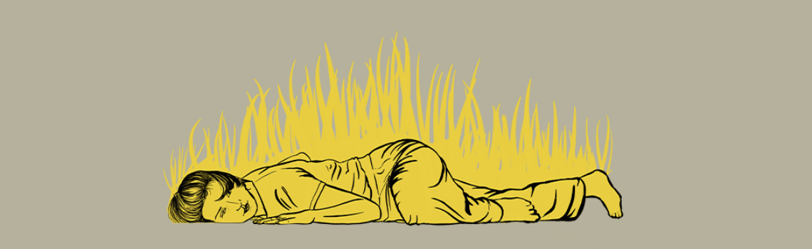 An illustration of a dancer laying on the floor, yellow grass grows up around them.