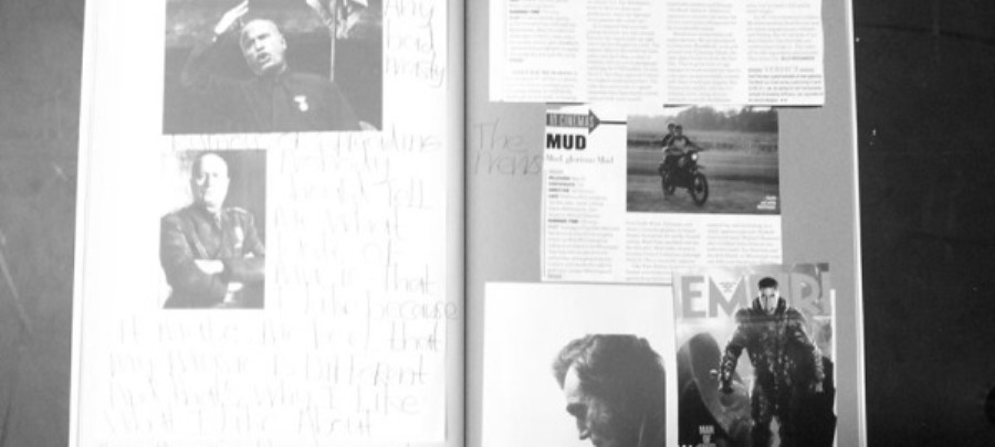 Page spread of Chris' scrapbook from Artificial Things.
