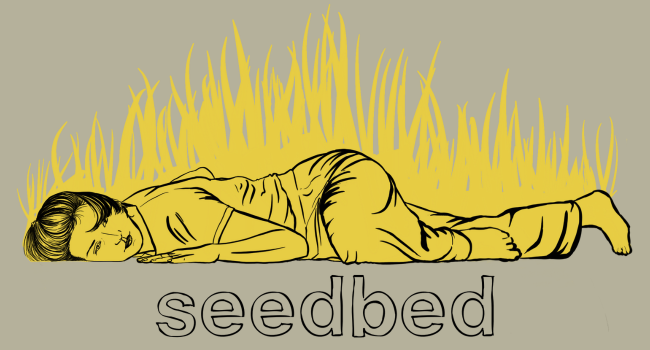Seedbed logo - yellow and black illustration of a dancer laying on the floor.