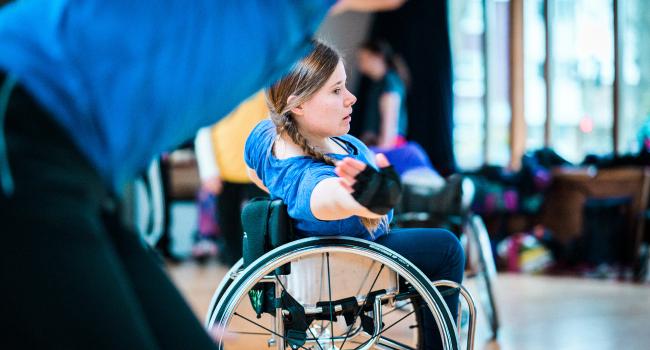 A wheelchair dancer in the studio.