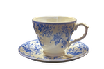blue and white china teacup and saucer